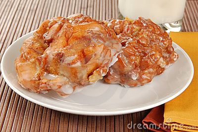 Apple Fritters And Milk Stock Image.