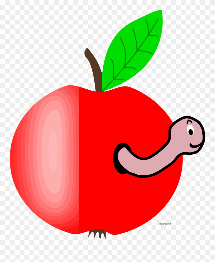 Apple Red Green Leaf Worm Clipart Png.
