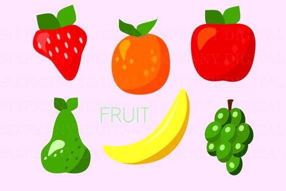 Fruit Clipart, Apple Clip Art, Grapes Clipart, Banana.
