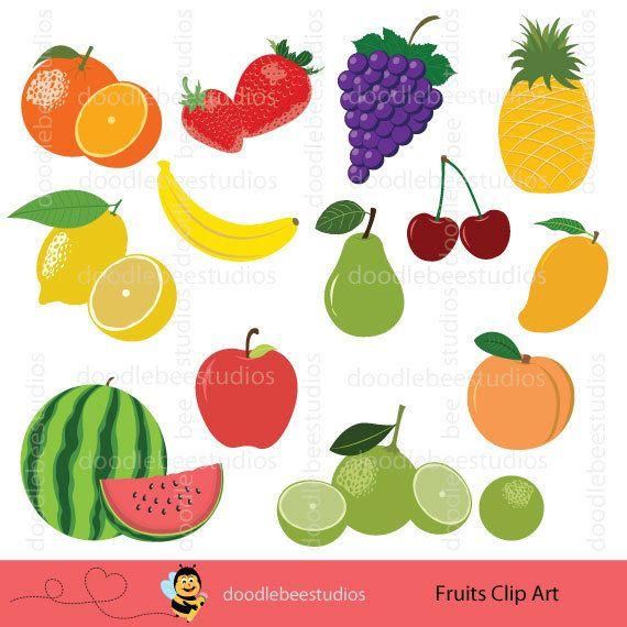 Fruits Clipart, Clip Art Set.
