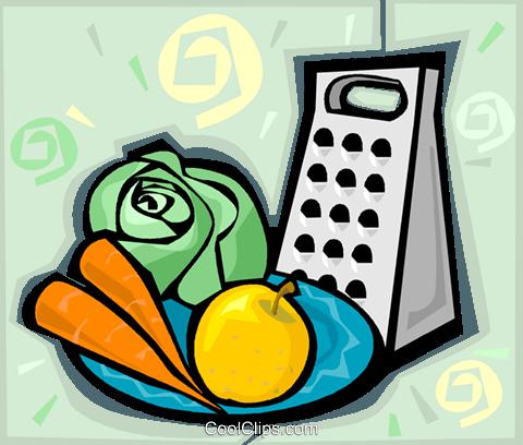 food grater, lettuce, carrots, apple Royalty Free Vector Clip Art.