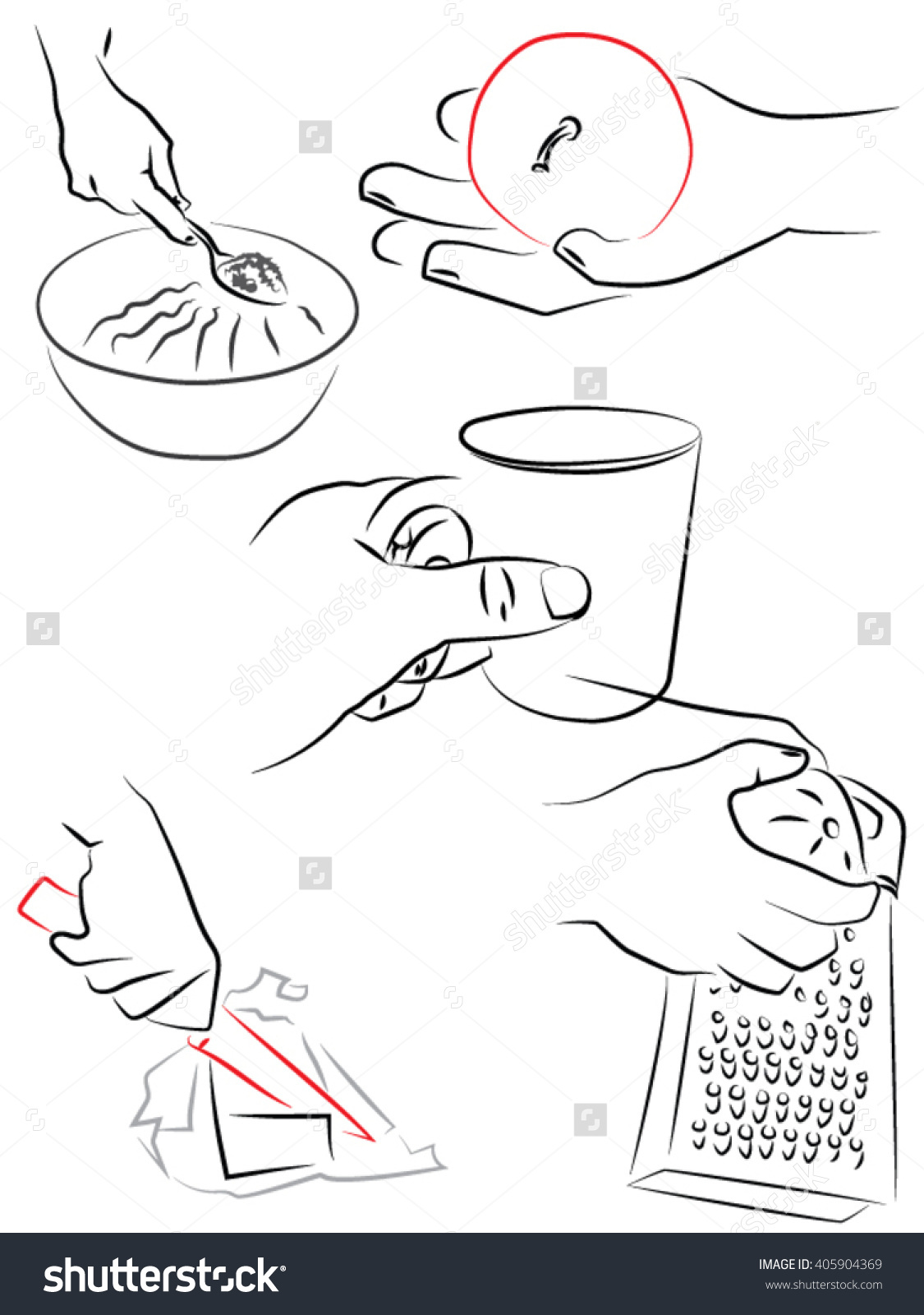 Holding A Spoon, Apple, Cup, Knife, Grater, Kitchen Utensils Stock.
