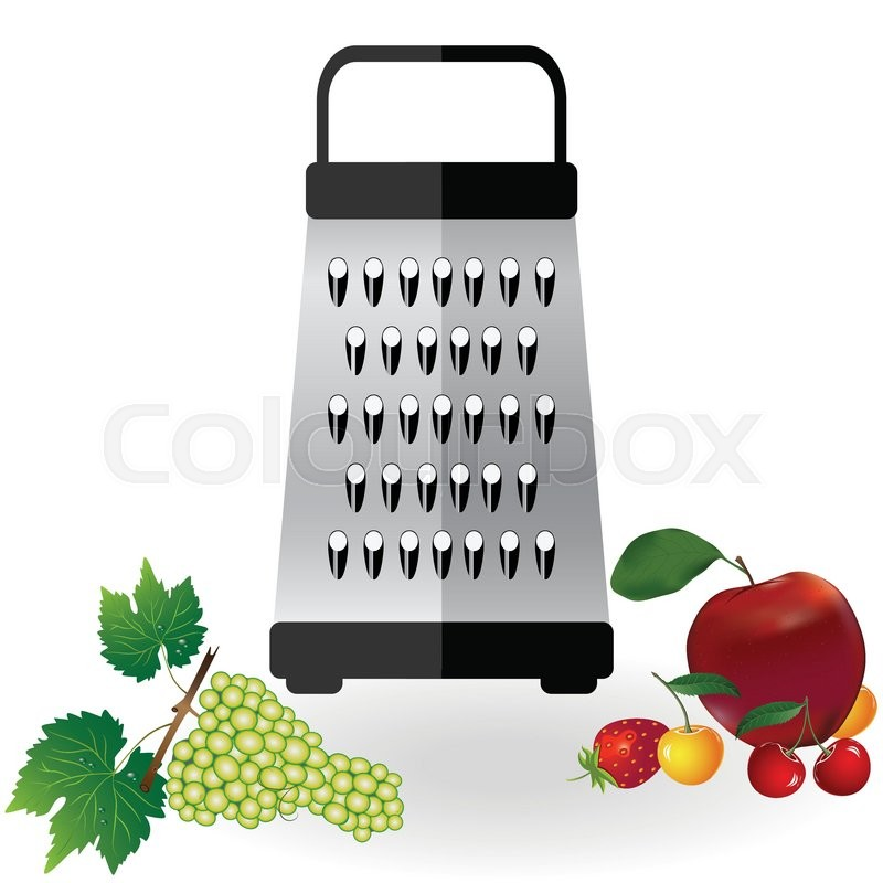 """Buy Vector """"Grater metallic icon vector and fruits apple."""