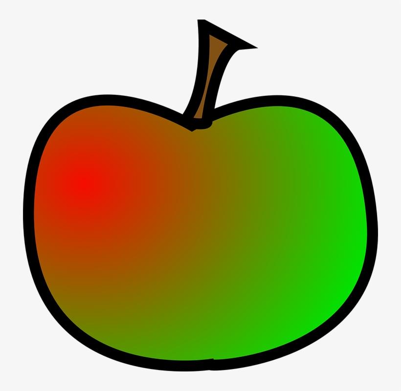 Red, Green, Apple, Food, Fruit, Cartoon, Plant.