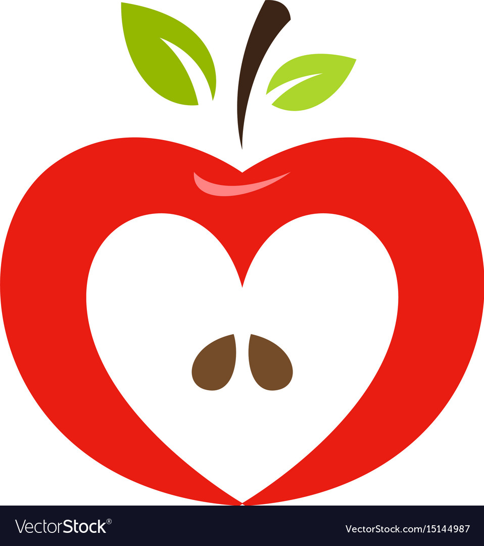 Heart shaped apple logo label emblem.
