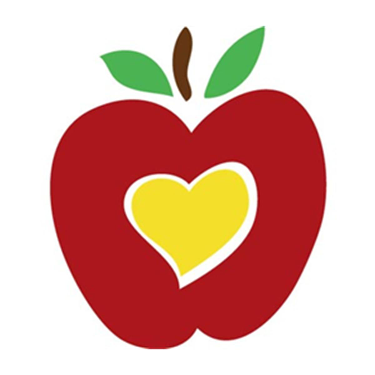 Apple With Heart Clipart.