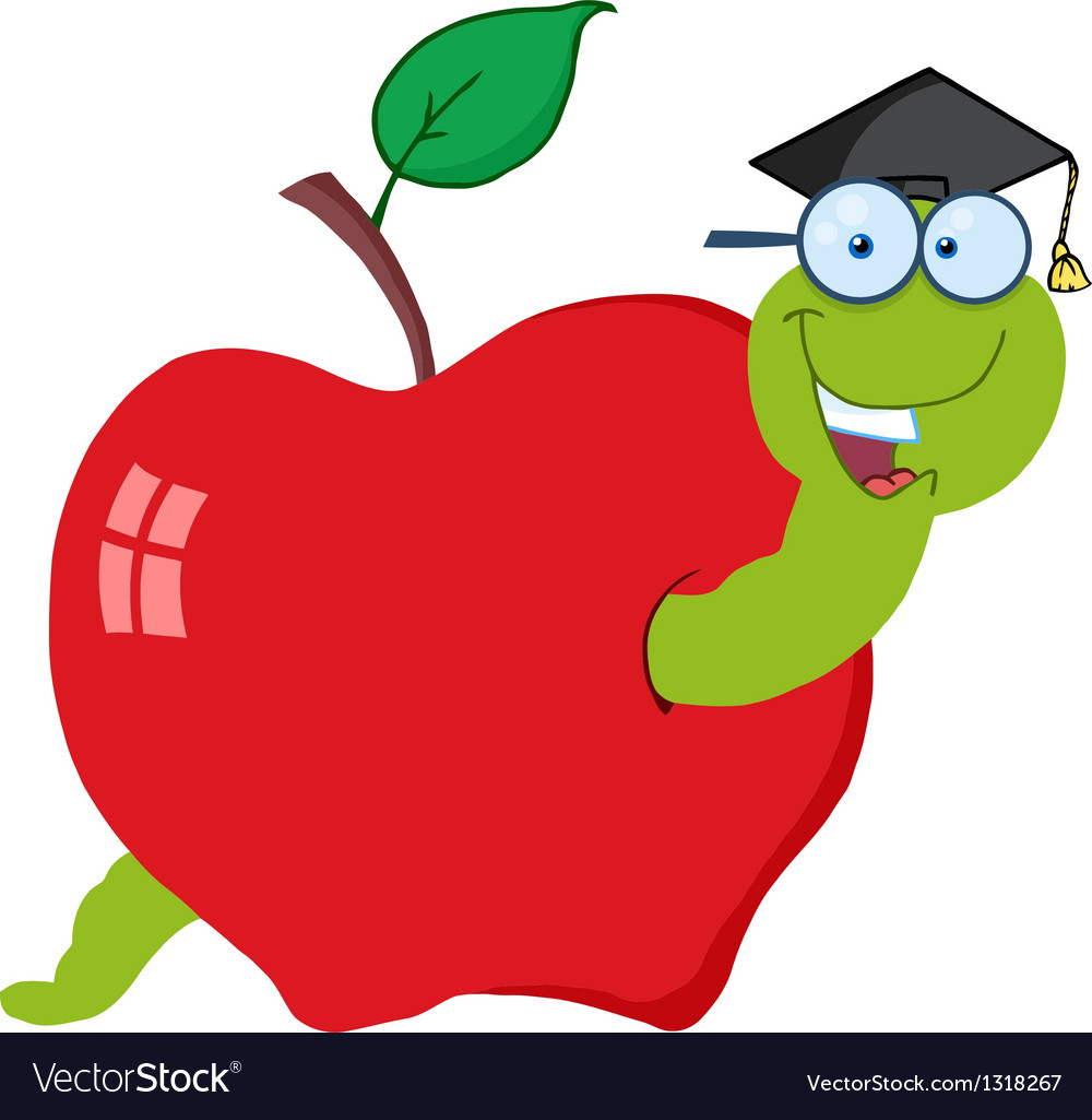 Worm In Red Apple With Graduate Cap.
