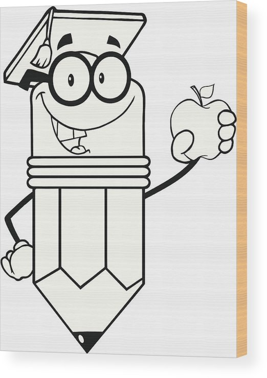 Black And White Pencil Teacher With Graduate Hat Holding Apple Wood Print.