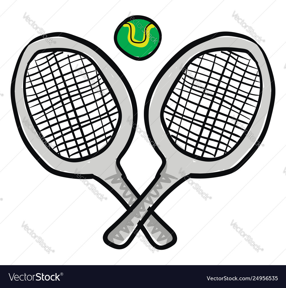 Clipart two tennis rackets with a.