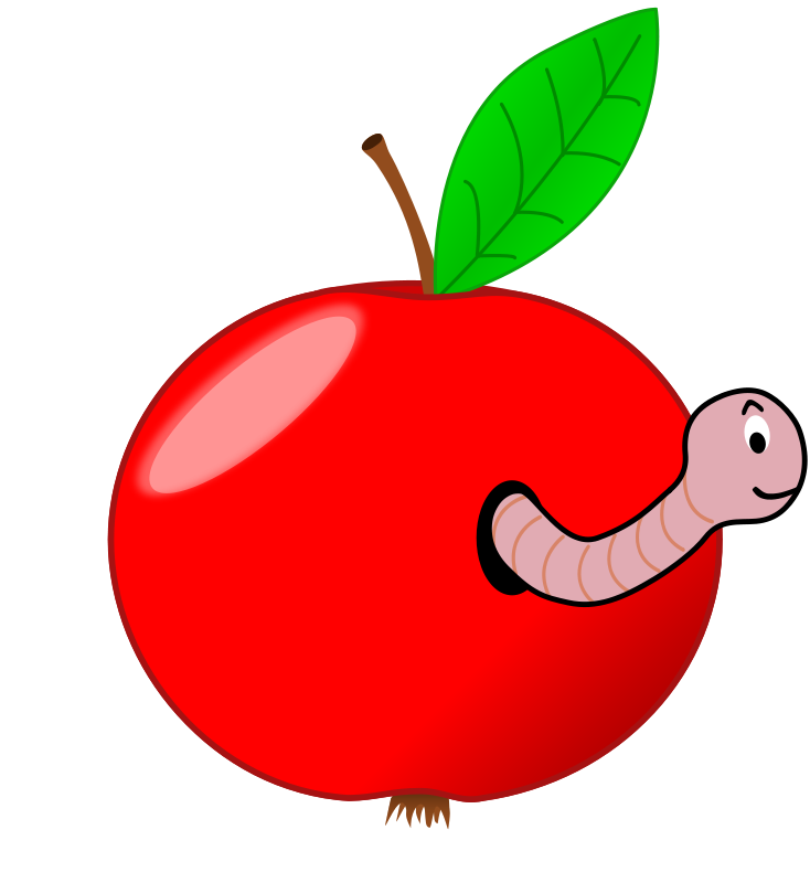 Free Clipart: Red Apple with a Worm.