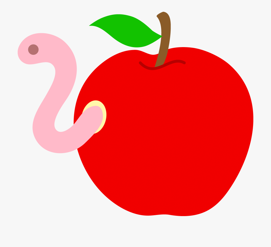 Apple With Worm Clipart.