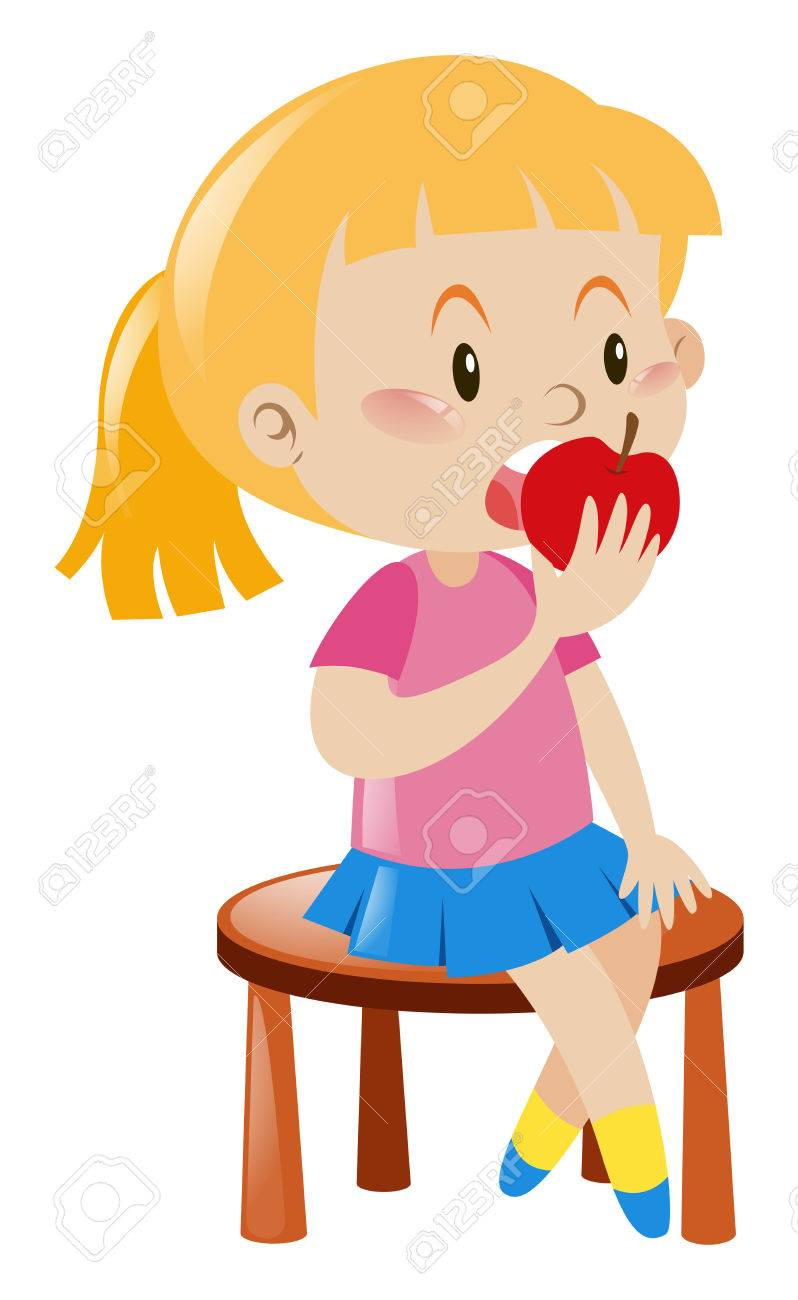 Girl Eating An Apple Clipart.