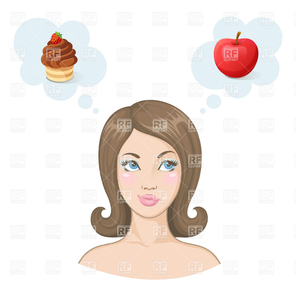 Woman on diet choosing between cupcake and apple.
