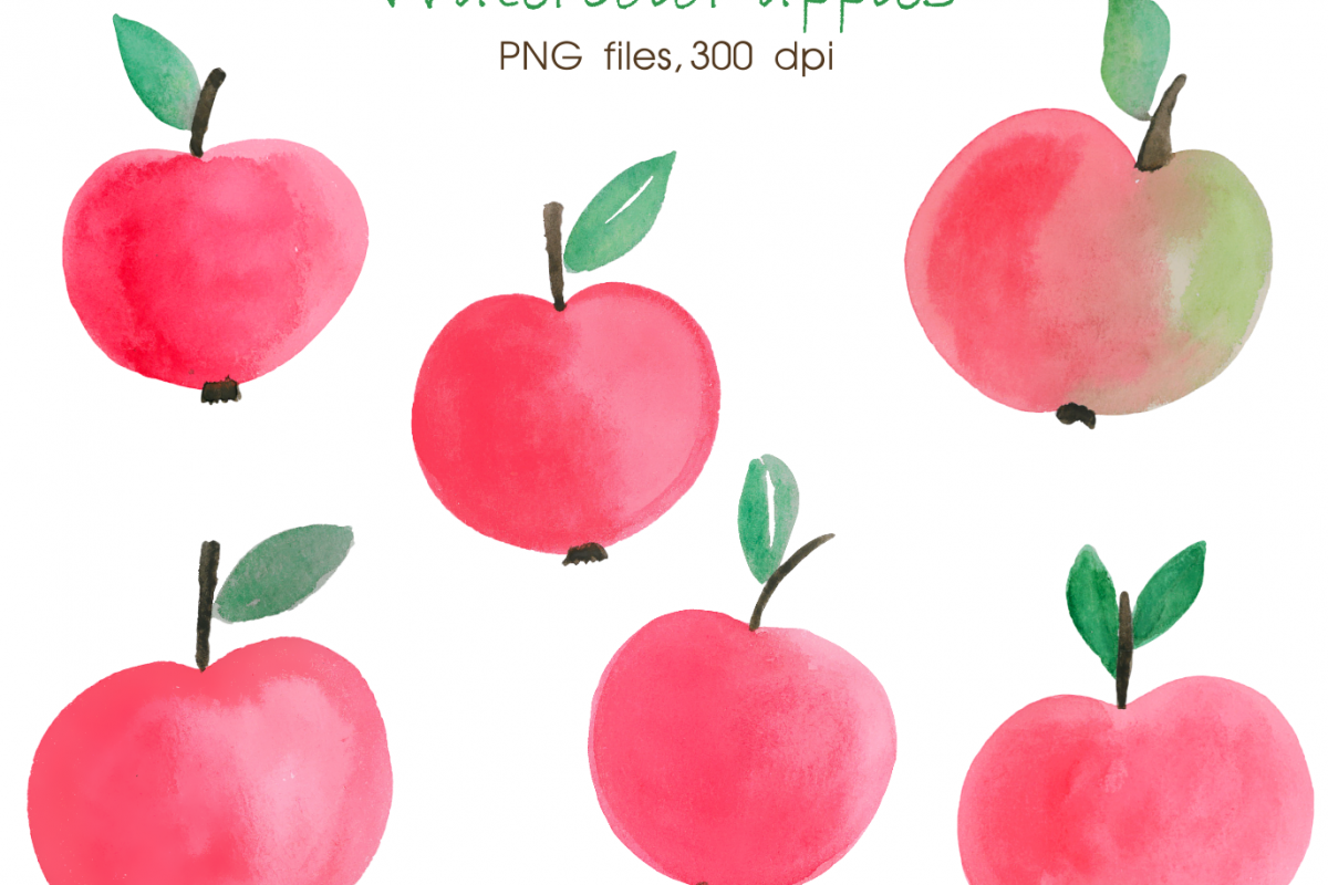 Watercolor Apple Digital Watercolour Hand Painted Clipart Apple Clip Art  Autumn Clipart Apples Clipart Fall.