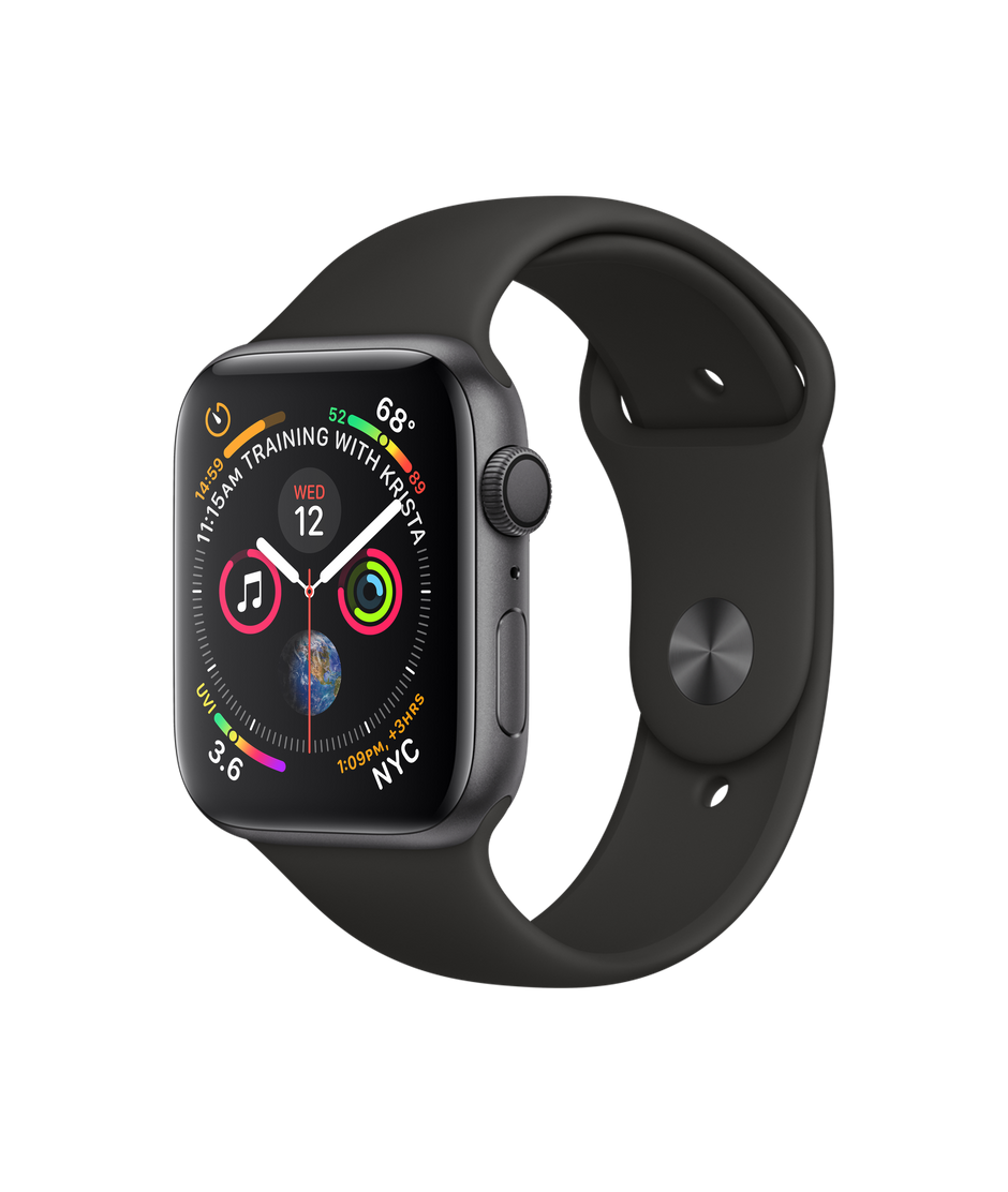 Apple Watch Series 4 GPS, 44mm Space Grey Aluminium Case with Black Sport  Band.