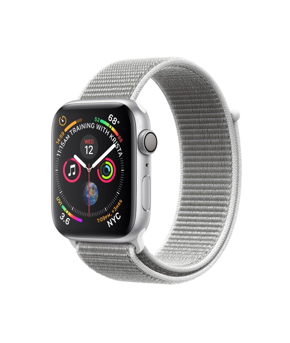 Apple Watch Series 4 GPS, 44mm Silver Aluminum Case with Seashell Sport Loop.