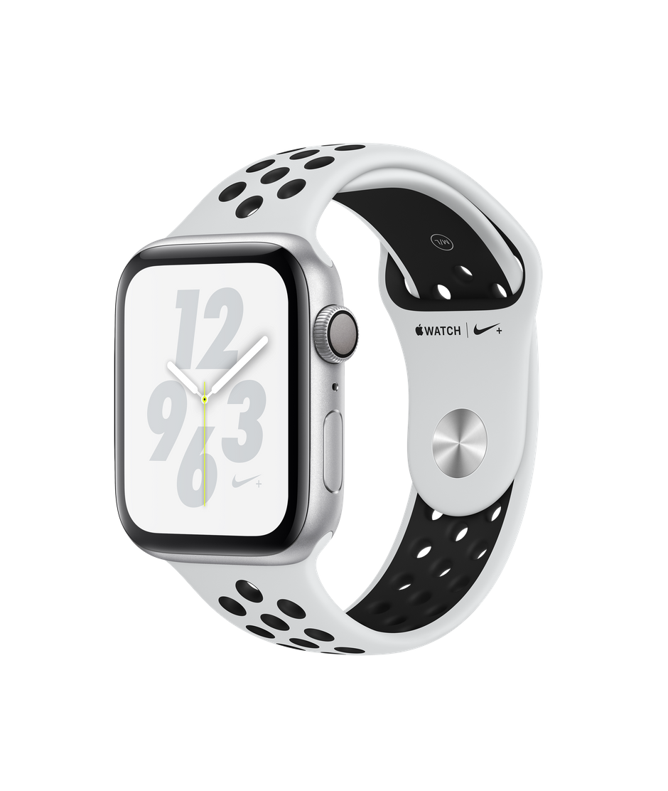 Apple Watch Nike+ Series 4 GPS, 44mm Silver Aluminum Case with Pure  Platinum/Black Nike Sport Band.