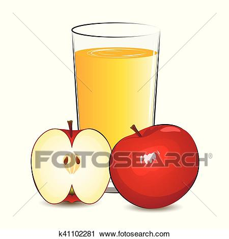 Vector illustration of fresh apple juice Clipart.