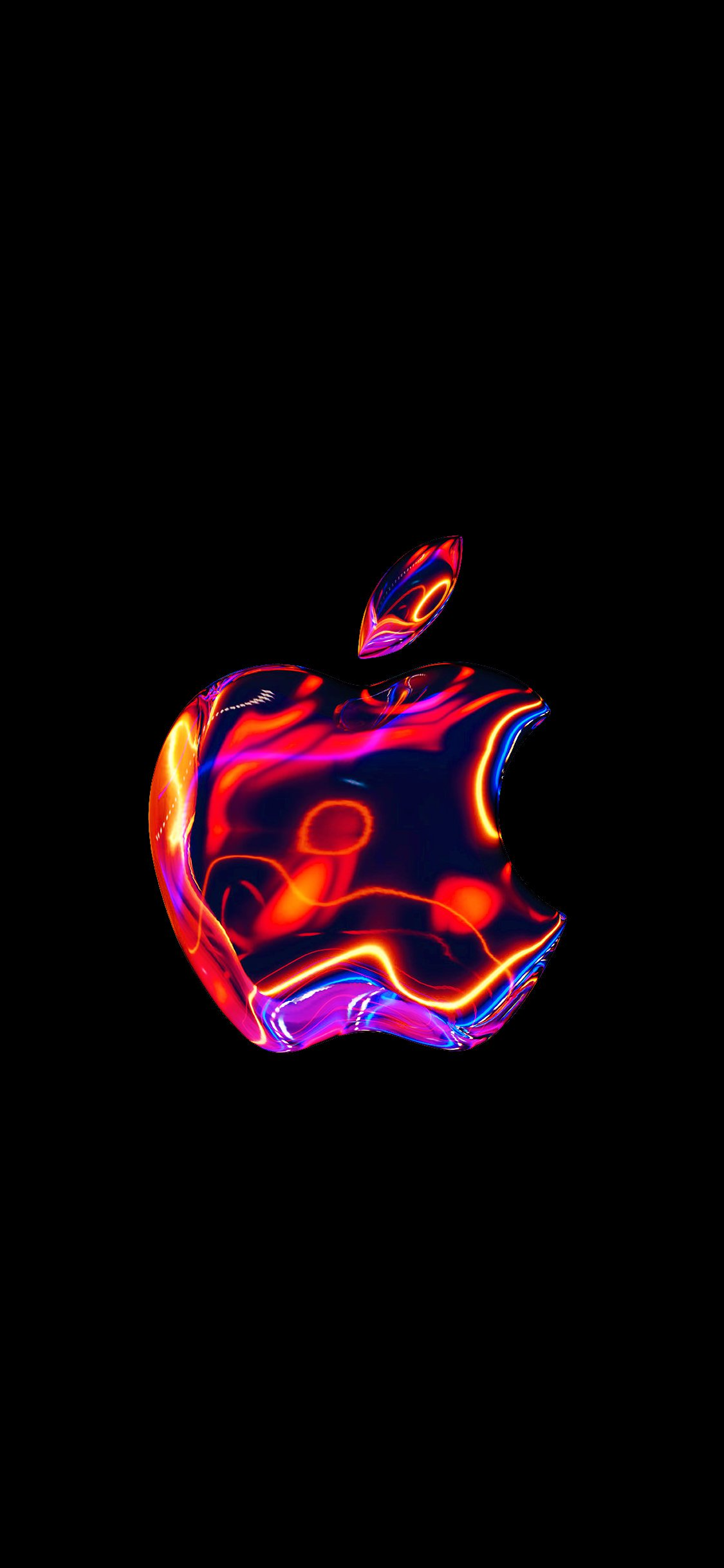 Metallic Apple logo background 88.3% [1125x2436.