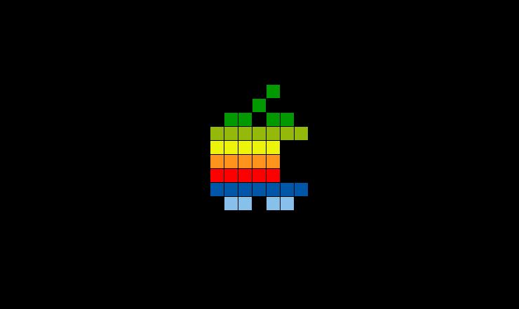 Rainbow Apple Pixel Logo.