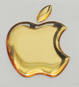 Details about 1pcs. 3D Golden Domed Apple logo stickers for iPhone, iPad  cover. Size 50x43mm.