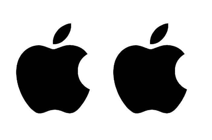 Apple logo stickers pair.