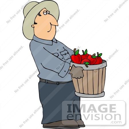 Apple Farmer Carrying a Bushel of Red Apples Clipart.