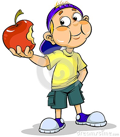 Boy eating apple clipart.