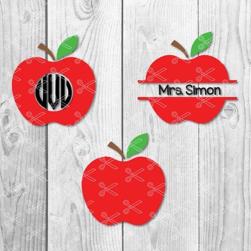 Apple Monogram SVG PNG DXF Cut Files.