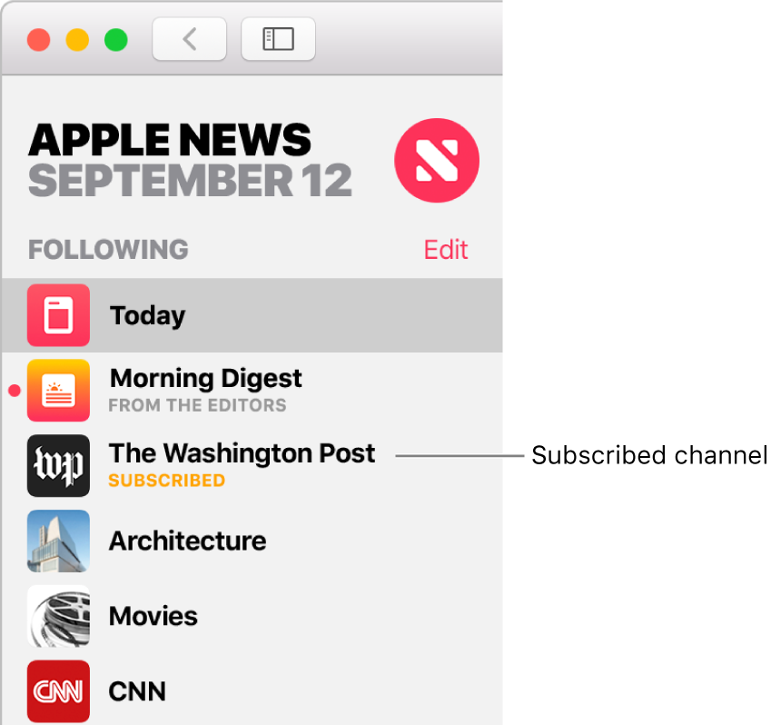 Subscribe to channels in News on Mac.