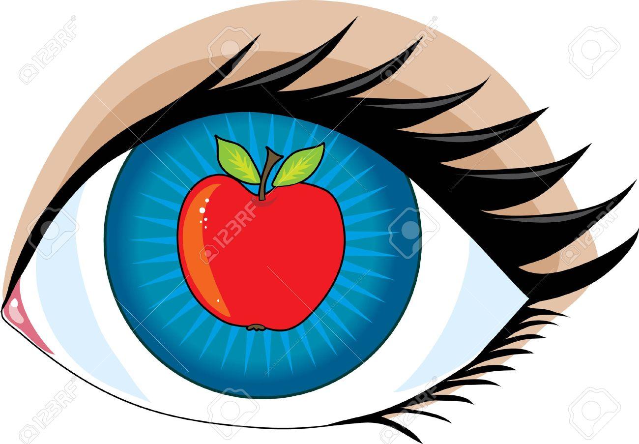 An apple in the center of an eye.