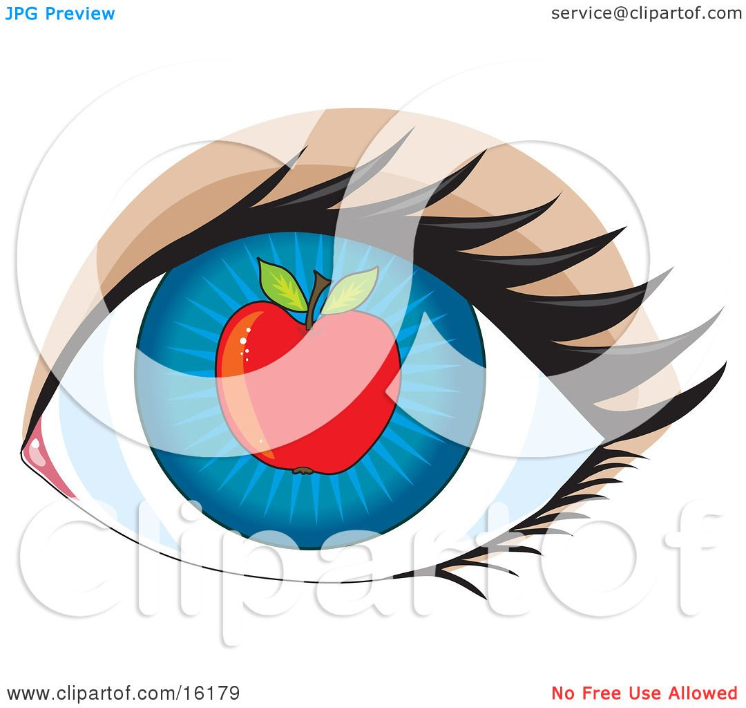 Blue Human Eye With An Apple, Concept For Apple Of My Eye Clipart.