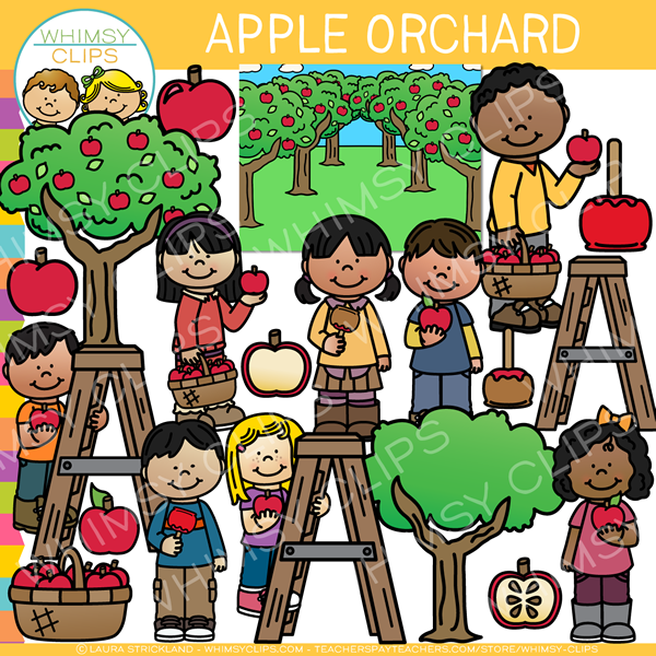 At the Apple Orchard Clip Art.