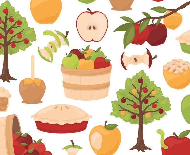 Apple Orchard Clipart, Orchard Clipart, Fruit Clipart, Autumn Clipart,  Harvest Clipart, Garden Clipart, Fall Clipart, Commercial Use.