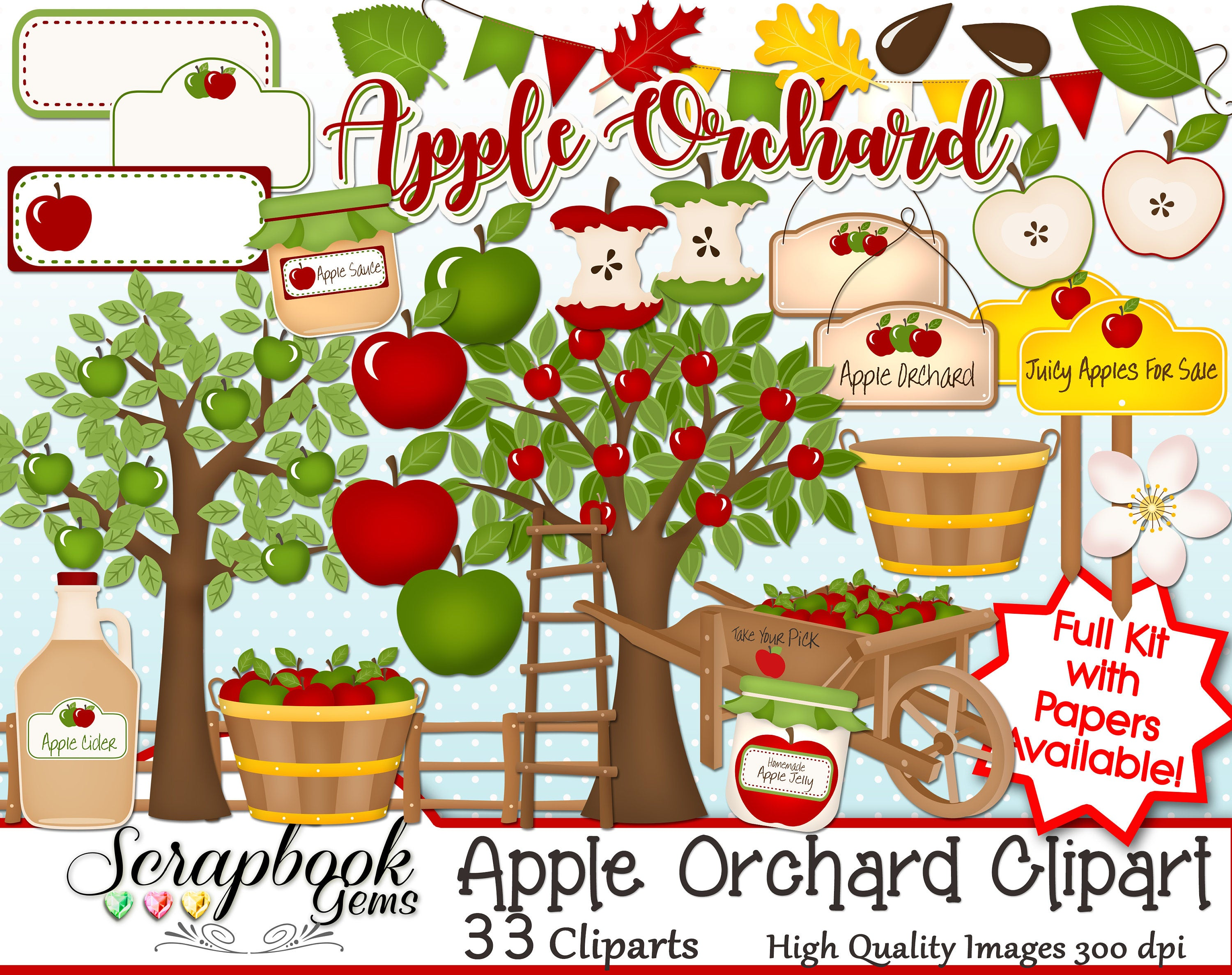 APPLE ORCHARD Clipart, 33 png Clipart files Instant Download fall autumn  thanksgiving fruit tree apple juice cider applesauce farmers market.