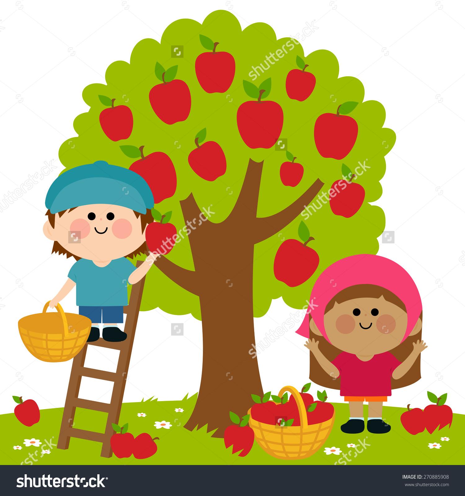 Children apple orchard clipart.