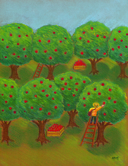 September apple picking clipart.