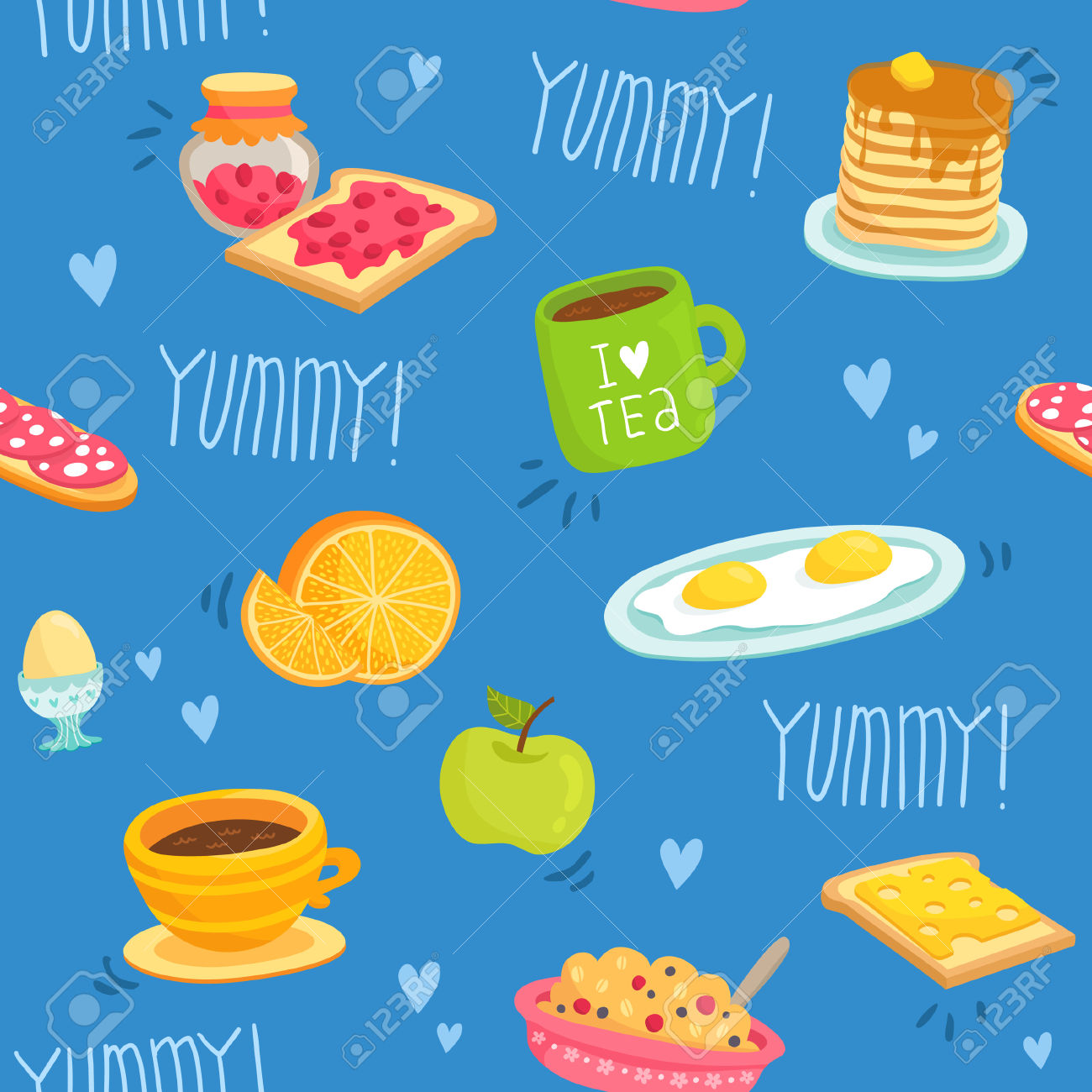 Cute Seamless Pattern With Various Breakfast Products: Tea, Coffee.