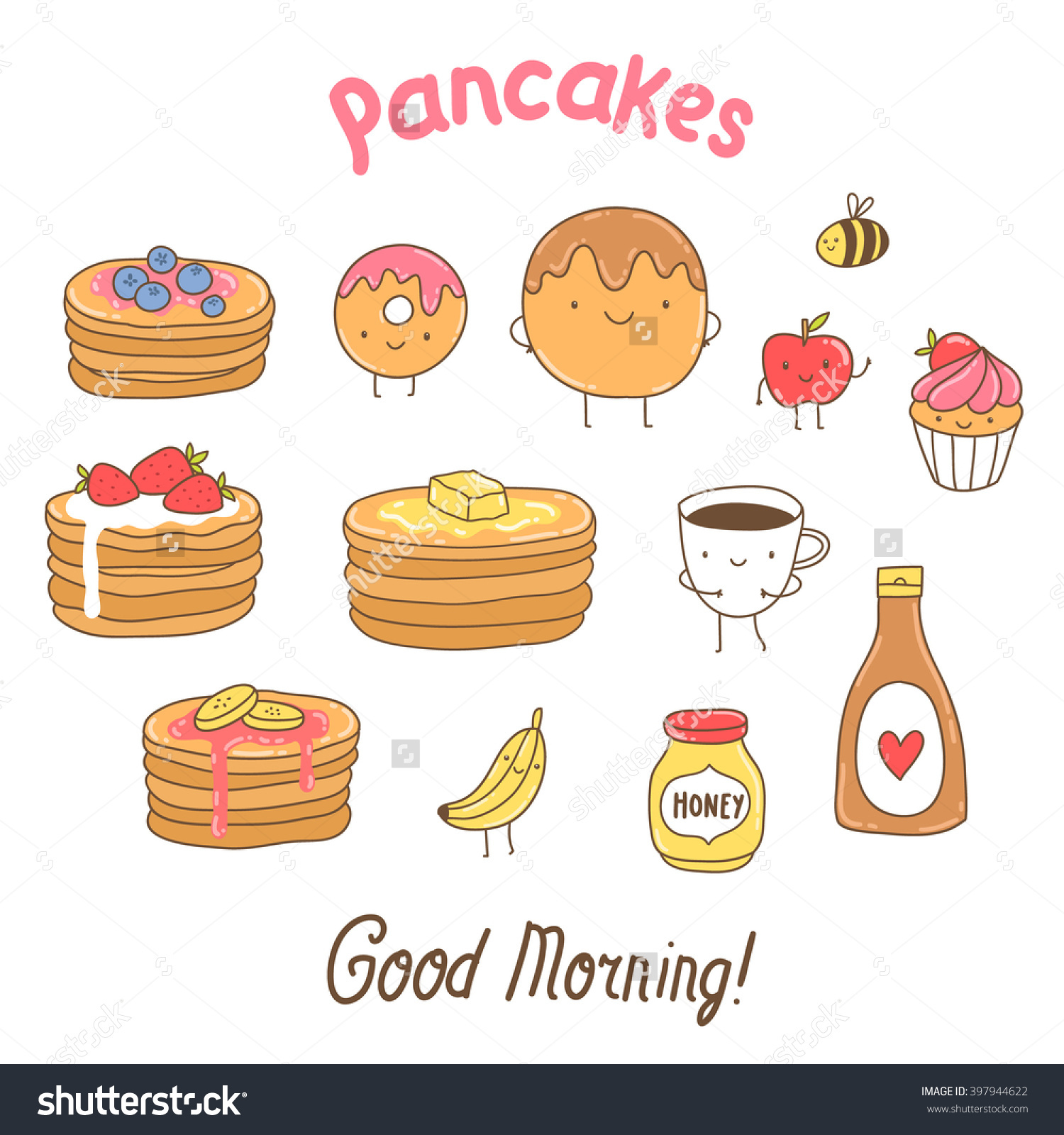 Funny Pancakes Illustration Adorable Vector Food Stock Vector.