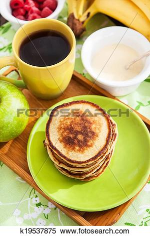 Stock Image of Breakfast with apple pancakes k19537875.