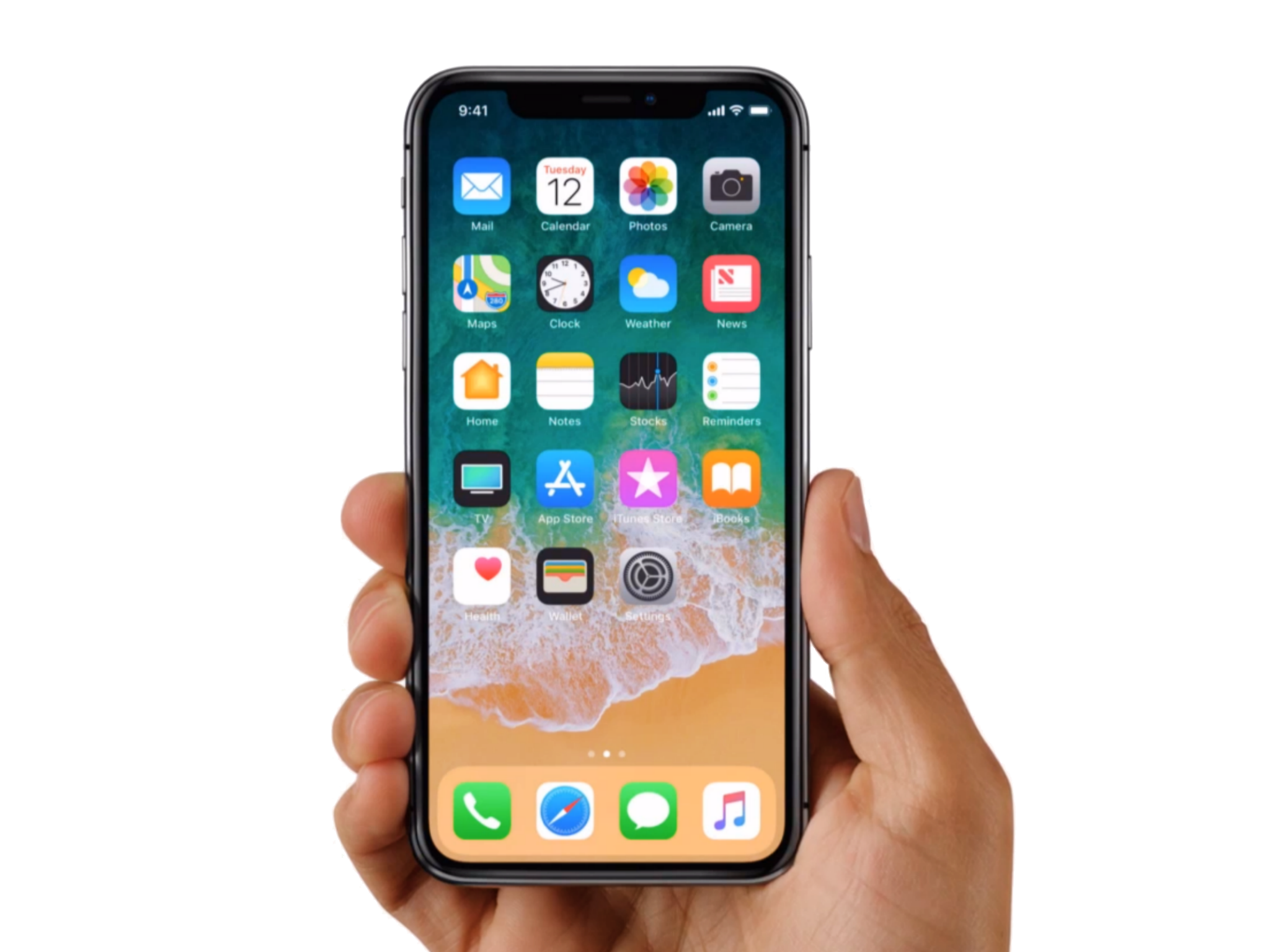 Apple iPhone X in Hands PNG Image.