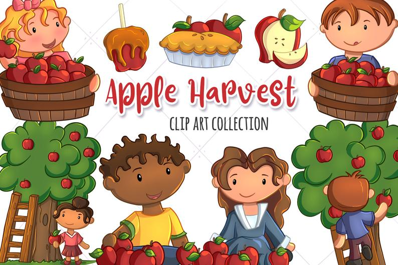Apple Harvest Clip Art Collection, Fall Apples, Kids Picking Apples, Apple  Picking Clipart, Kids Picking Apples Illustrations.