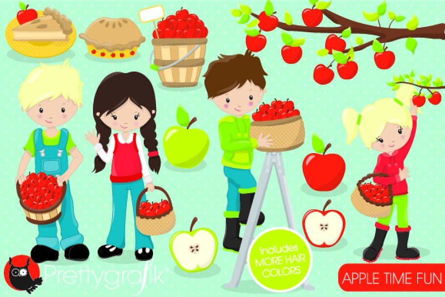 Apple picking clipart.