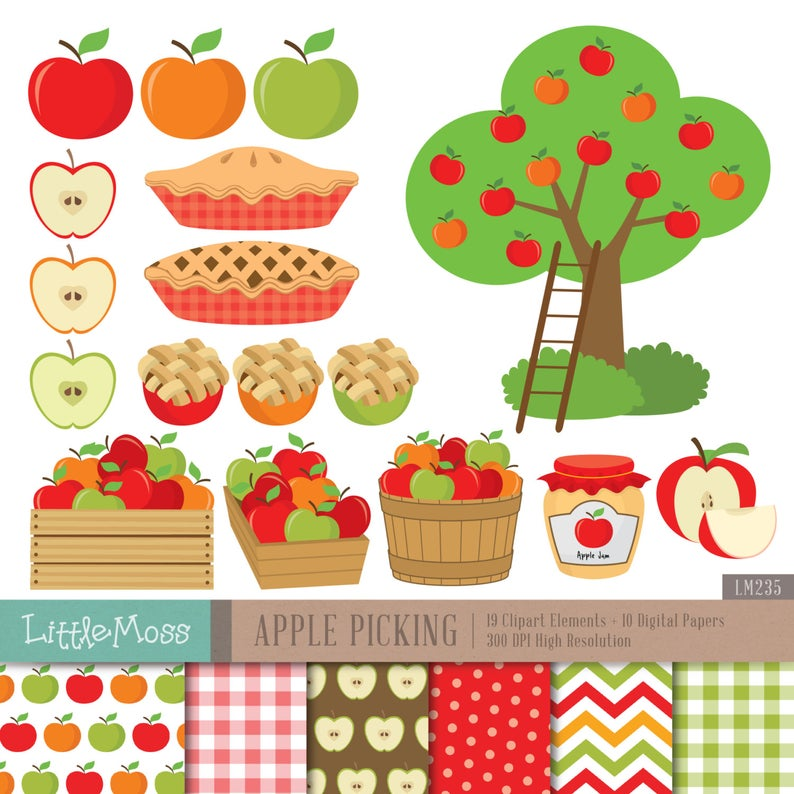 Apple Picking Digital Clipart.