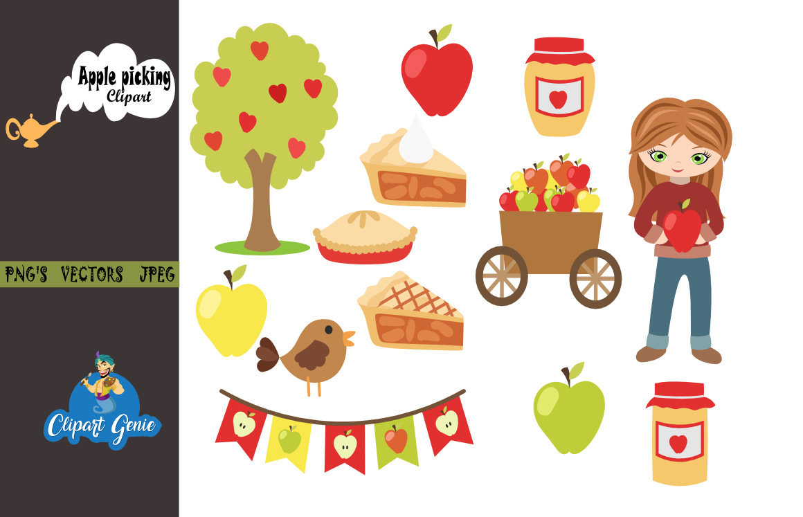 Apple Picking Clipart, Fall Clipart, autumn harvest Clipart, apple pie  Clipart, apples Clip art, apple tree clipart, apple basket, Fall.