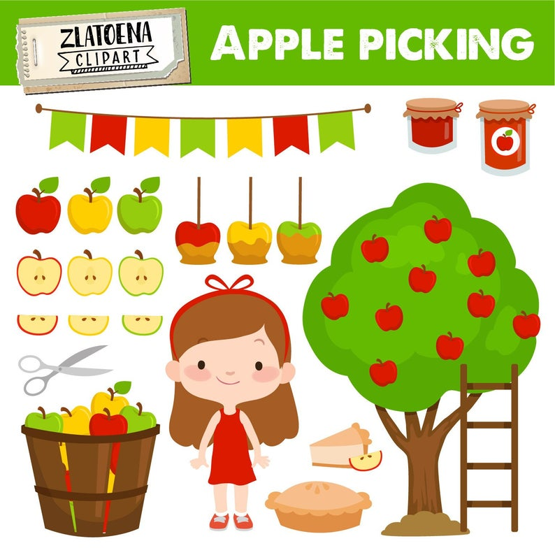 Apple picking clipart Apple clip art Orchard Clipart Harvest clipart Fall  Apple Tree Apple Pie Bushel Basket clipart Apple Tree Clip Art.