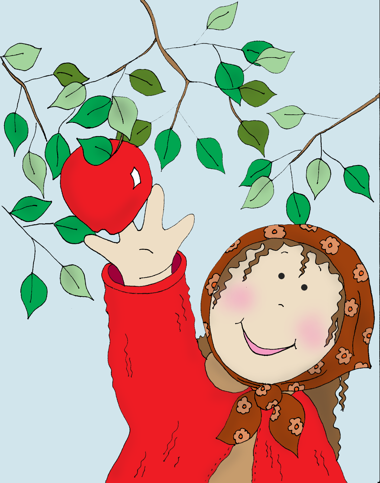 Free Dearie Dolls Digi Stamps: Fall Apple Picking.