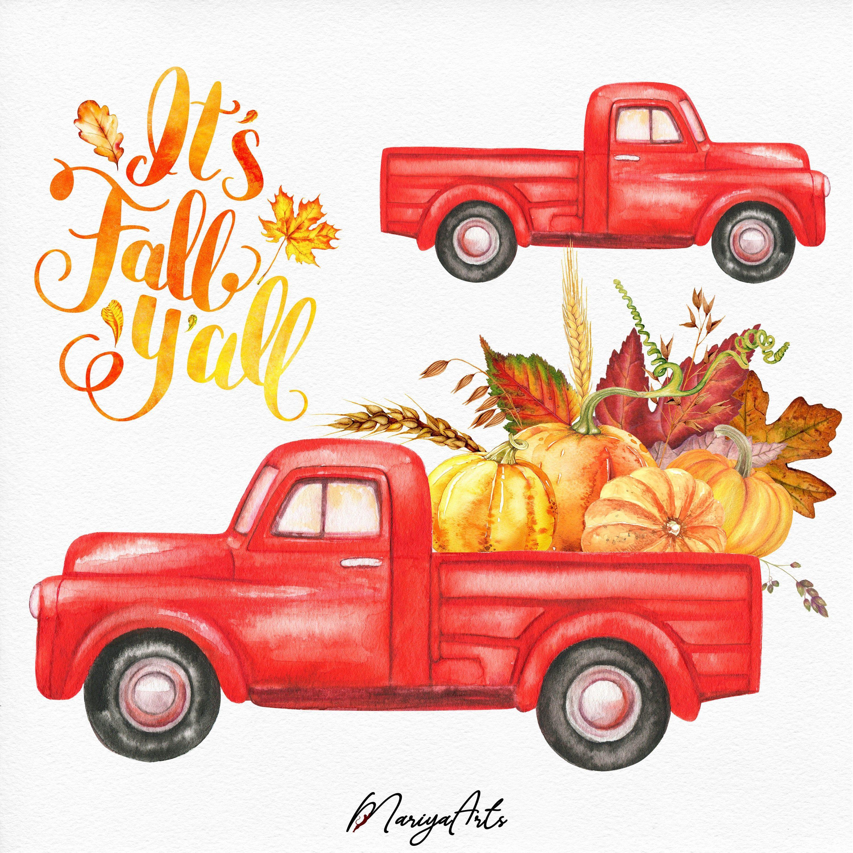 Harvest Truck Thanksgiving Clipart, Autumn Clip Art, Vintage.