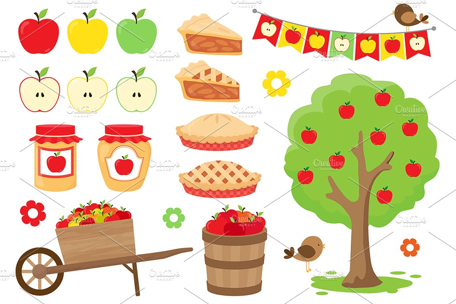 Apple Picking Clipart ~ Graphic Objects ~ Creative Market.