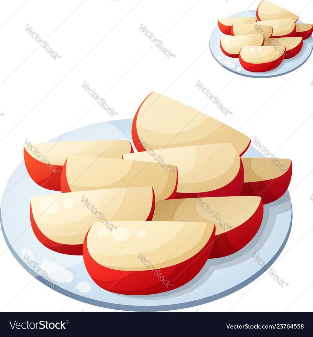 Apple slices detailed icon isolated.